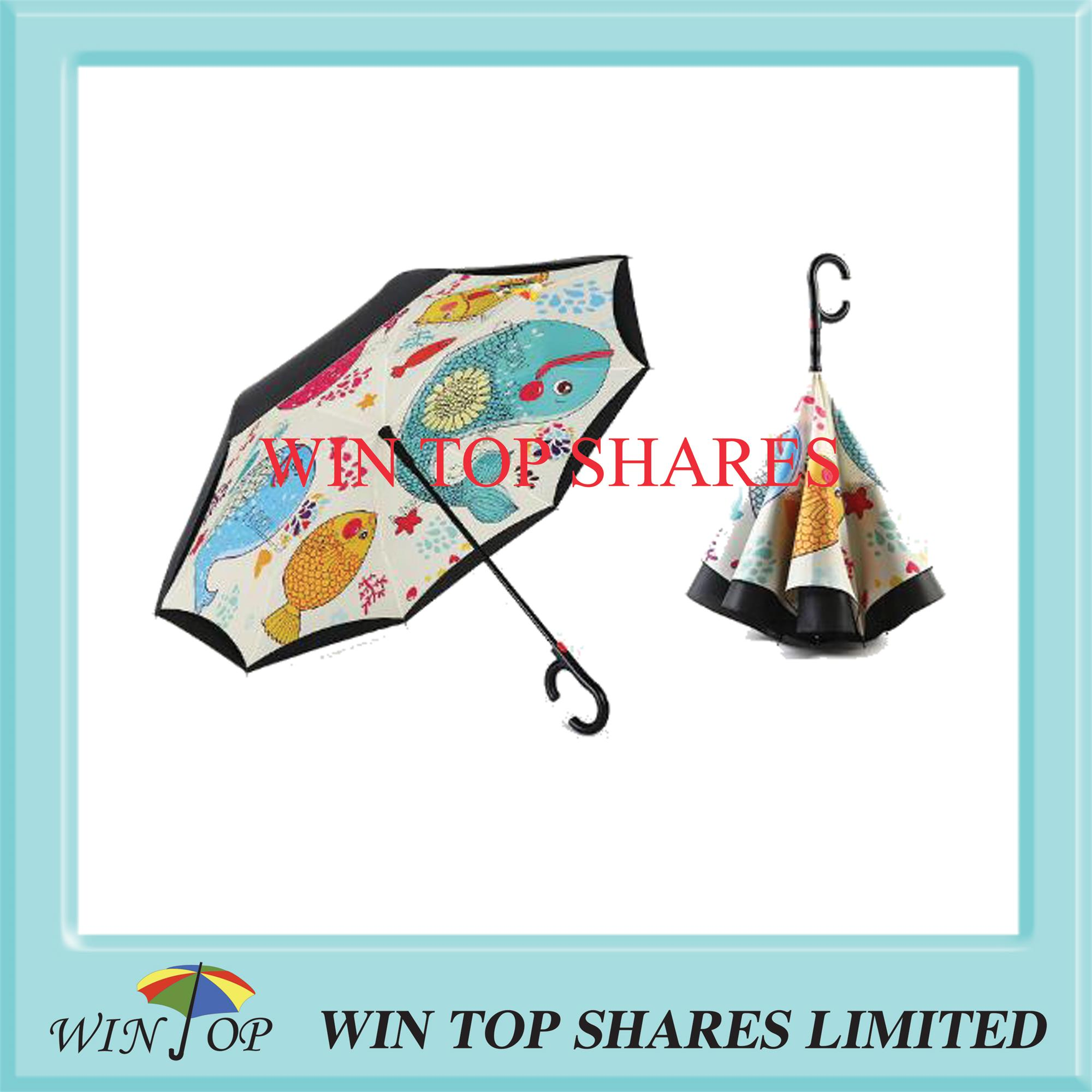 Top Quality romantic double fish Auto Inverting parasol