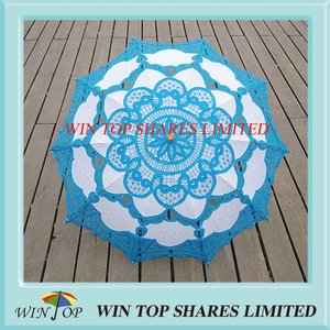 Light blue and white embroidery craft parasol supplier
