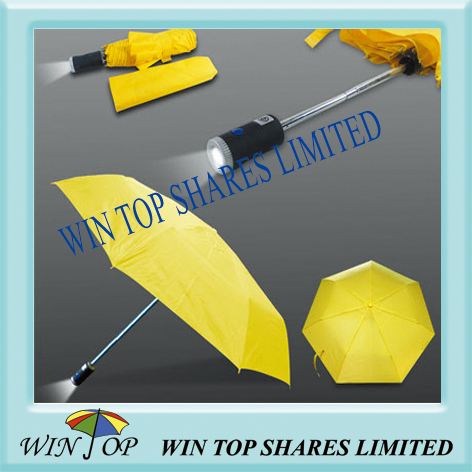 LED Torch Light Flash 3 Folding Umbrella (WTL038B)