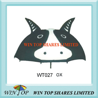 Ox Bull Pattern Black and White Polyester Umbrella (WT027)
