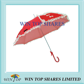 Red Auto Stick DOT Printed Queen Umbrella with Lace