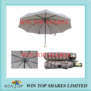 Metallic gold pongee Scotland check mode AOC umbrella