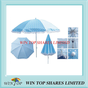 Printed Beach Umbrella Parasol with Lace (WT7056)