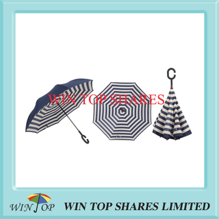Vogue Navy blue and white stripes invert umbrella