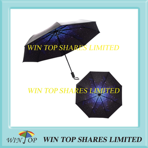 Rainproof and Sunproof black adhesive starry night topic umbrella