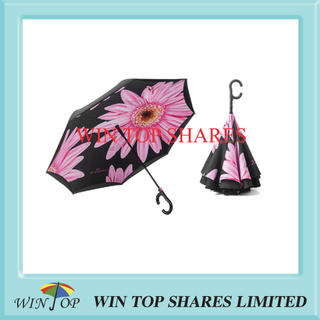 Fashionable Pink Sun flower auto reversed parasol