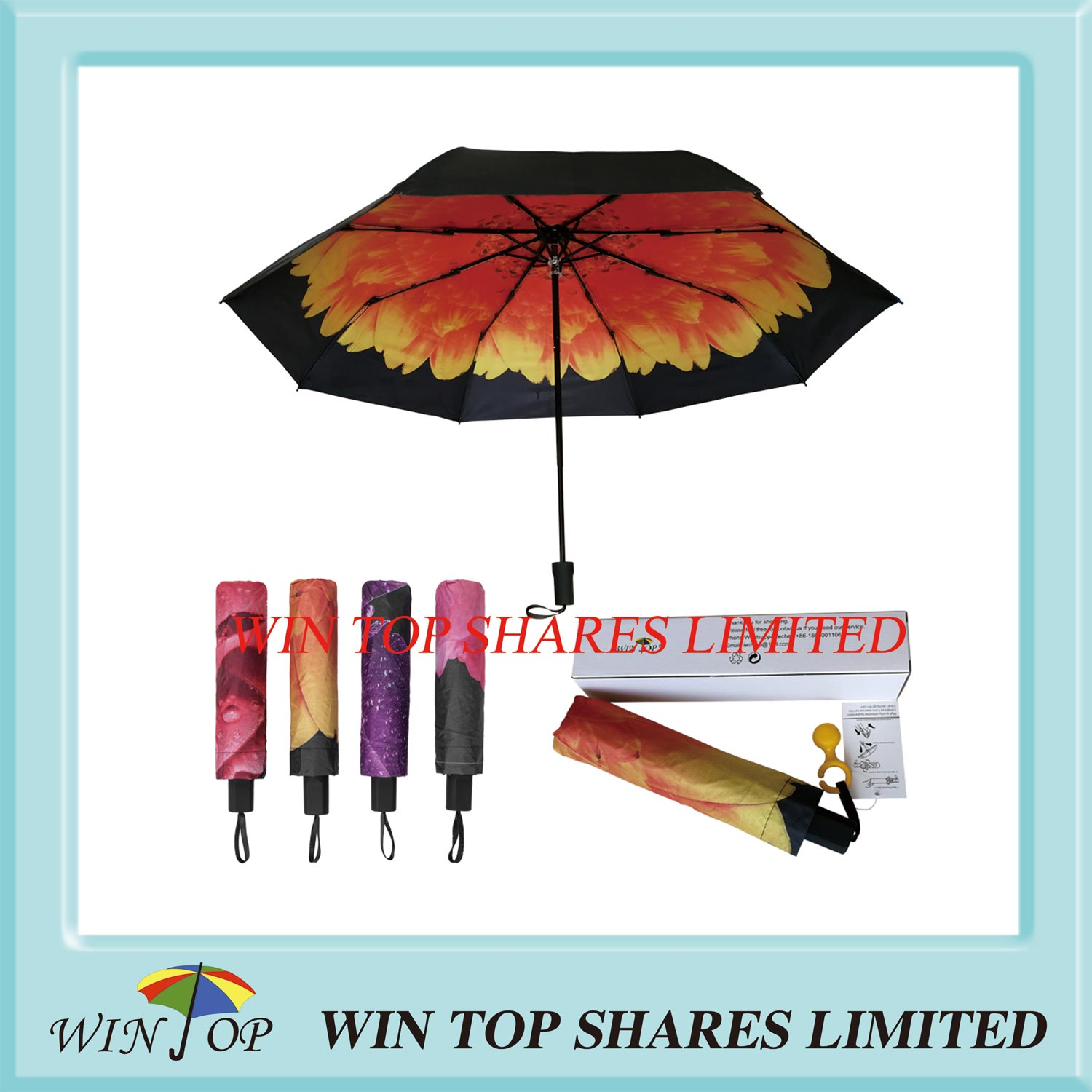 UV proof windproof 3 Folds Purple Sun parasol