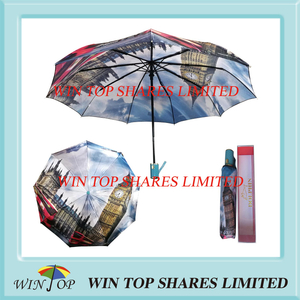 Auto Open close Windproof Satin Hot Transfer Umbrella