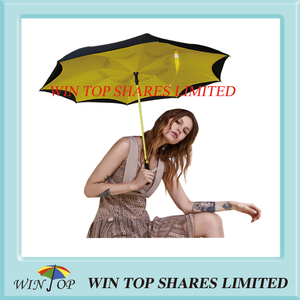 Yellow UV proof Rainproof Auto Inversed car Umbrella