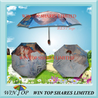 "21"" Impressionism Digital Print Auto Folding Umbrella"