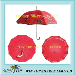 "23"" Auto Straight Red Umbrella (WT5090)"