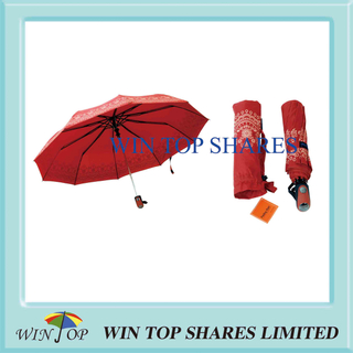 Orange Pongee Classical Automatic Umbrella
