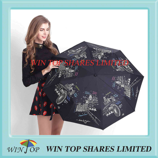 3 folds silk screen printing girl Umbrella