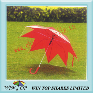 "23"" Auto Straight Maple Leaf PVC Umbrella"