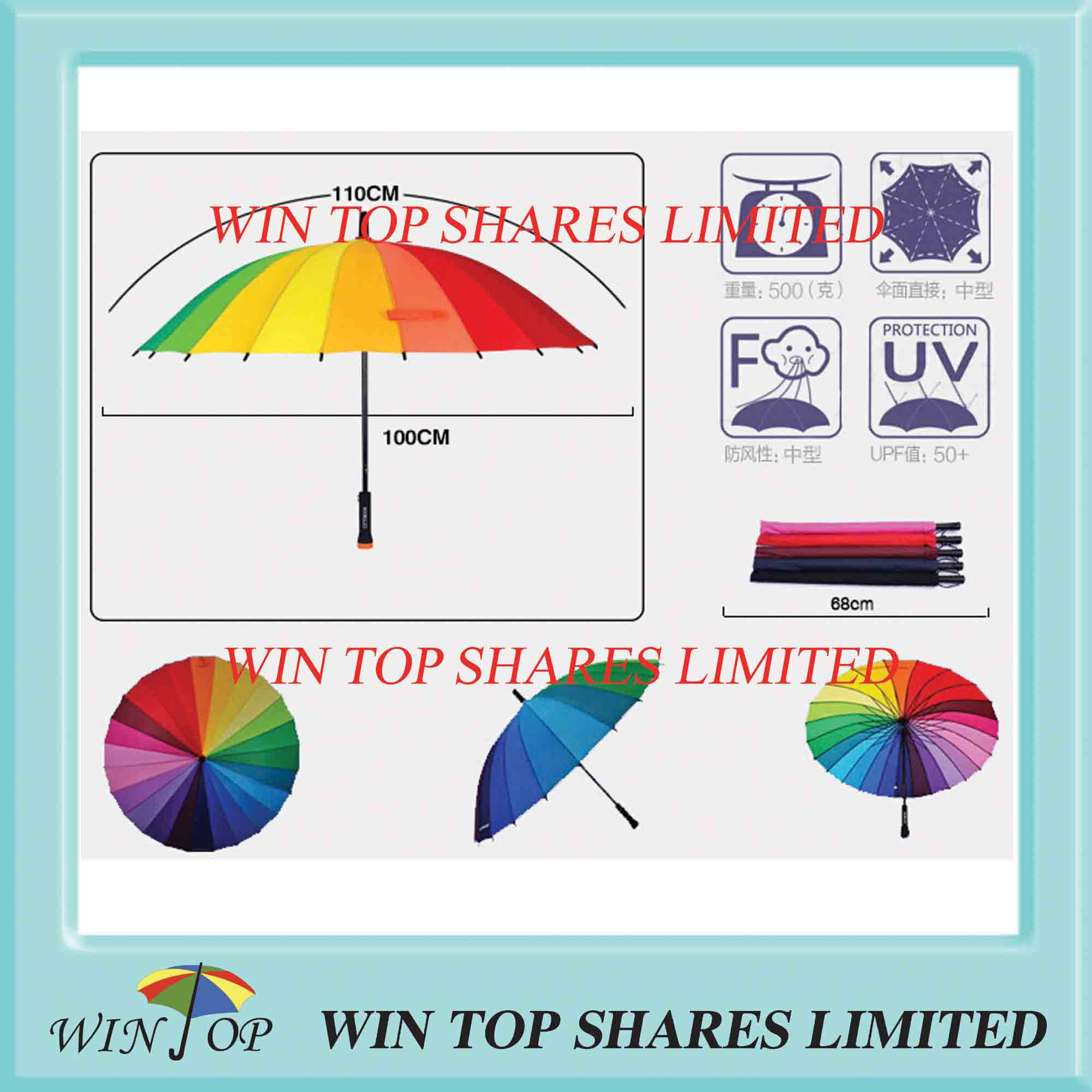 Hand open Straight ladies Rainbow Umbrella