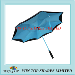 Light Blue Windproof Waterproof Auto Inverted Car Umbrella