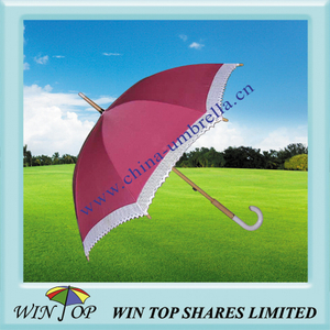 "21"" Fashionable Umbrella with Lace and Jade Handle (WT1046)"