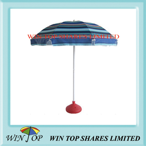 Stripe Beach Umbrella with Water Base