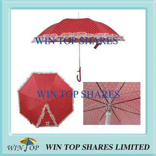 Auto Straight Red Pricess Lace Parasol with Print
