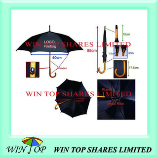 "23"" Auto Black Wooden Umbrella with Details"