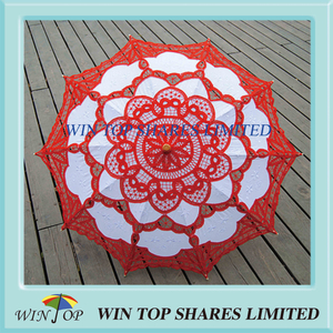 Chinese style bright red and white art parasol